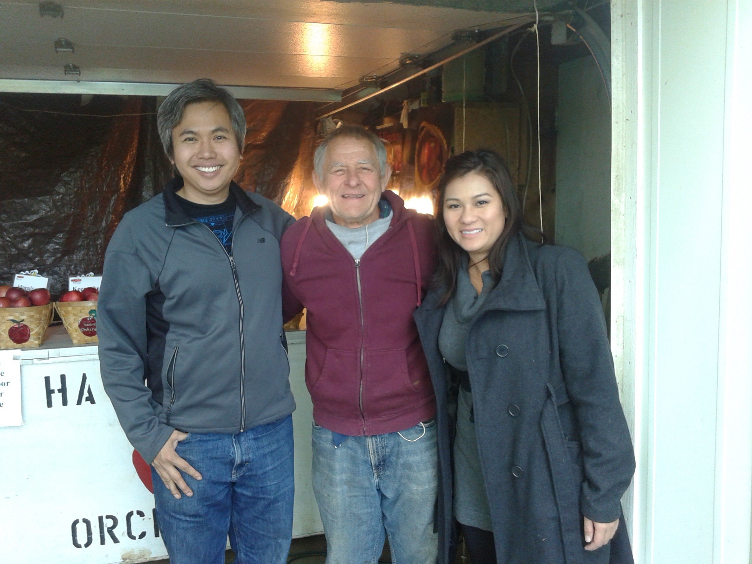 Former Bloomington students , Andrew To and Trang Phan visited the orchard